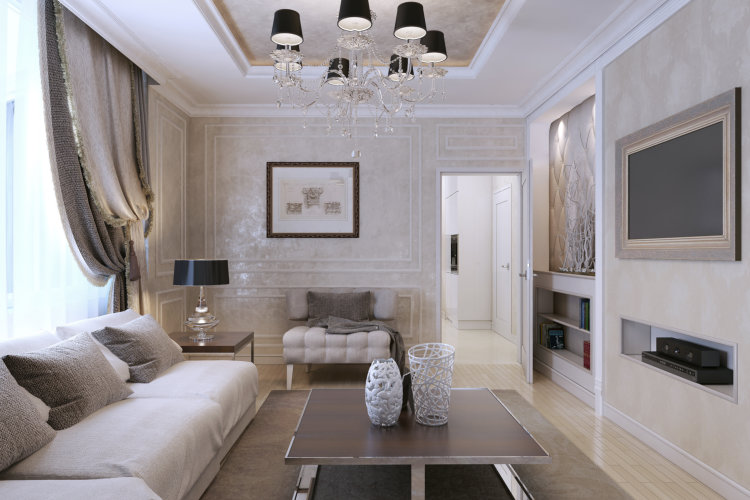 Living room, art deco style, classic style 3d image